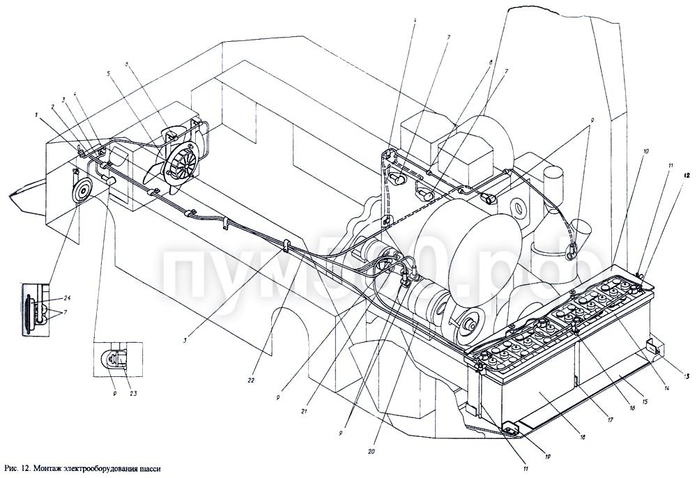 ПУМ-500 - Электрооборудование шасси П1.01.13сб