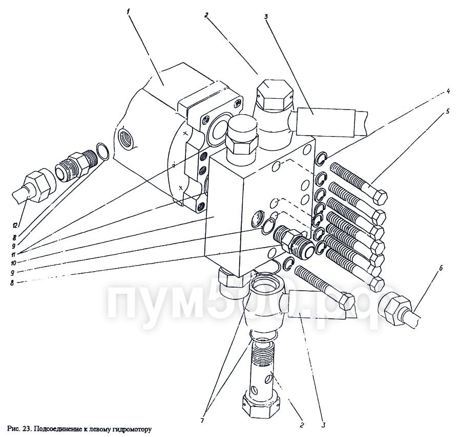 ПУМ-500 - Подсоединение к левому гидромотору