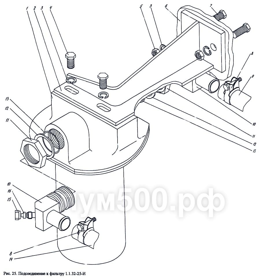 ПУМ-500 - Подсоединение к фильтру 1.1.32-25-И