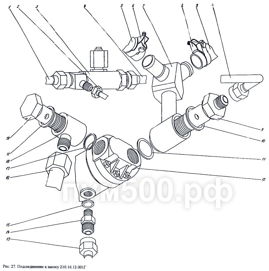 ПУМ-500 - Подсоединение к насосу 210.16.12.001Г