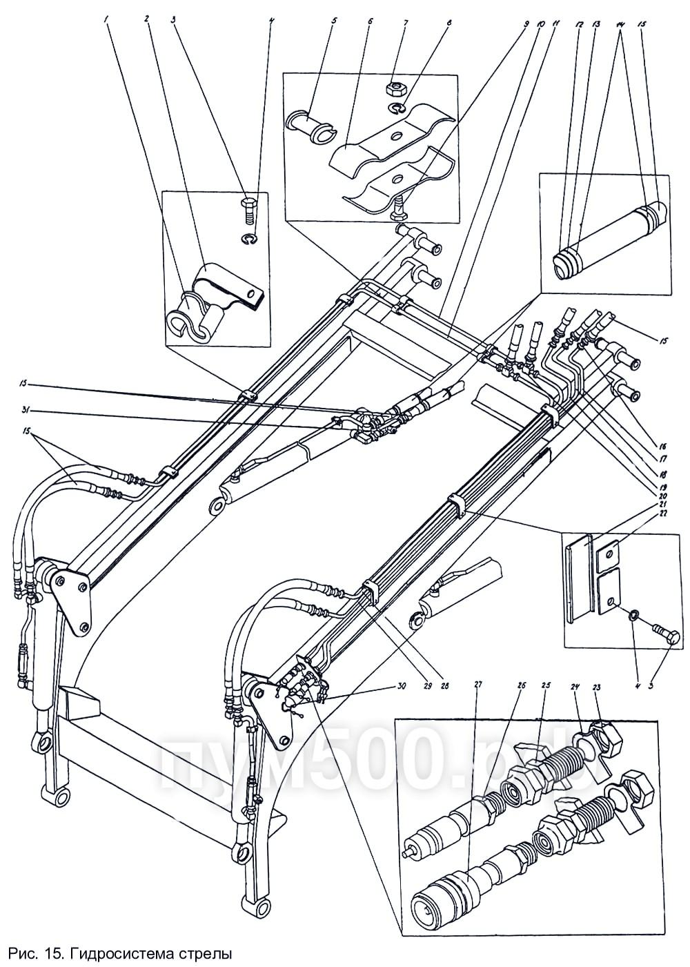 ПУМ-500 - Гидросистема стрелы П1.10.05сб-1