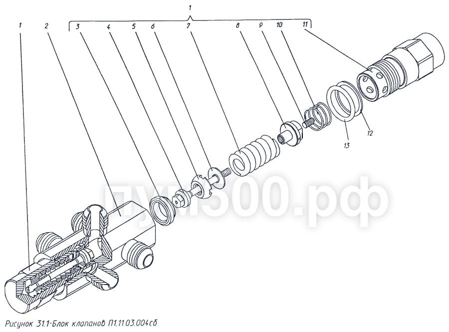 ПУМ-500 - Блок клапанов П1.11.03.004сб