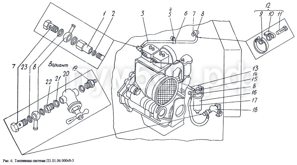 ПУМ-500 - Топливная система П1.01.06.000сб