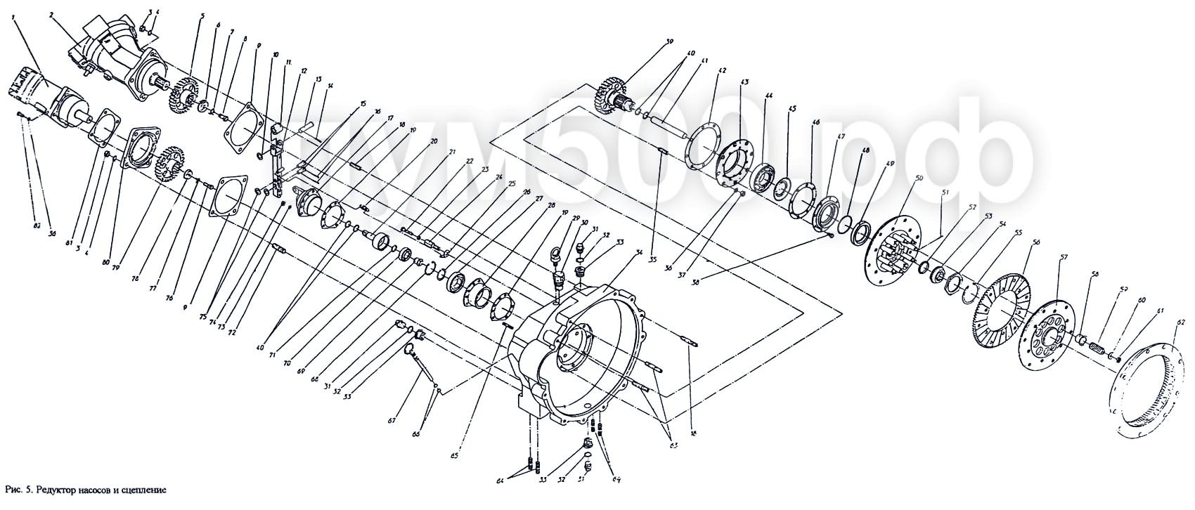 ПУМ-500 - Редуктор насосов и сцепление ПУМ-500.01.05-1сб