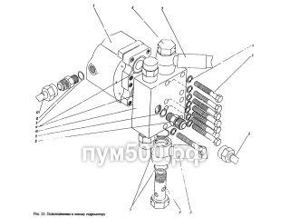 Подсоединение к левому гидромотору ПУМ-500